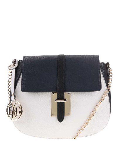 Čierno-biela kabelka s modrou príklopkou LYDC