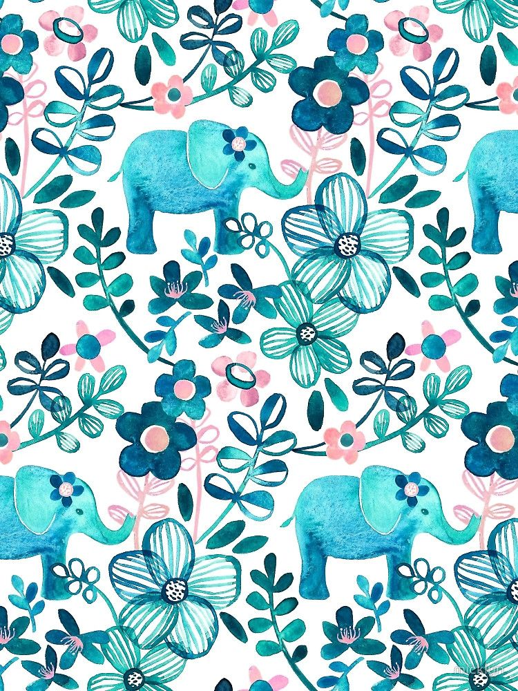 Dusty Pink, White and Teal Elephant and Floral Watercolor