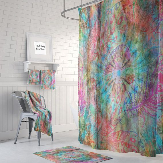 Hippie Boho Shower Curtain Optional Bath Mat Bathroom Boho