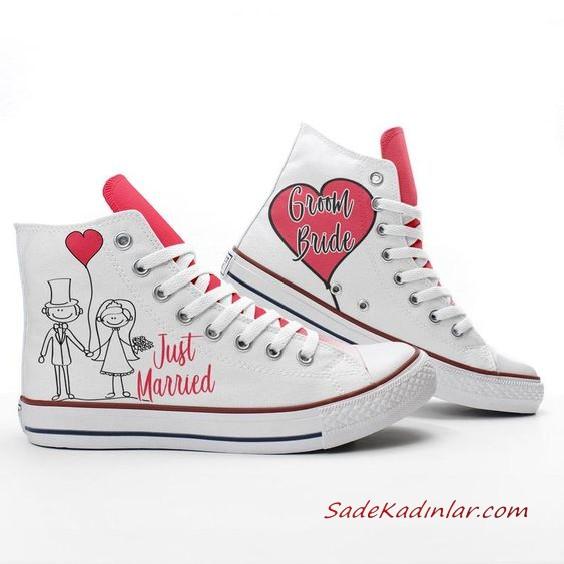2020 Gelin Spor Ayakkabi Modelleri Beyaz Baski Figurlu Converse Converse Converse Chuck Taylor High Top Sneakers