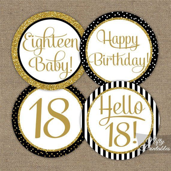 18th Birthday Cupcake Toppers