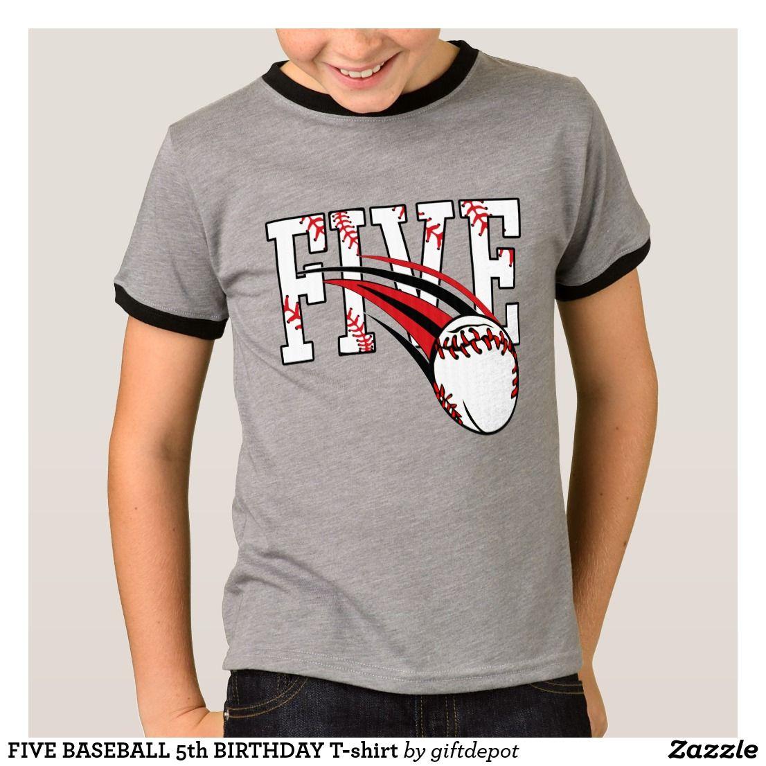 Five baseball 5th birthday tshirt birthday