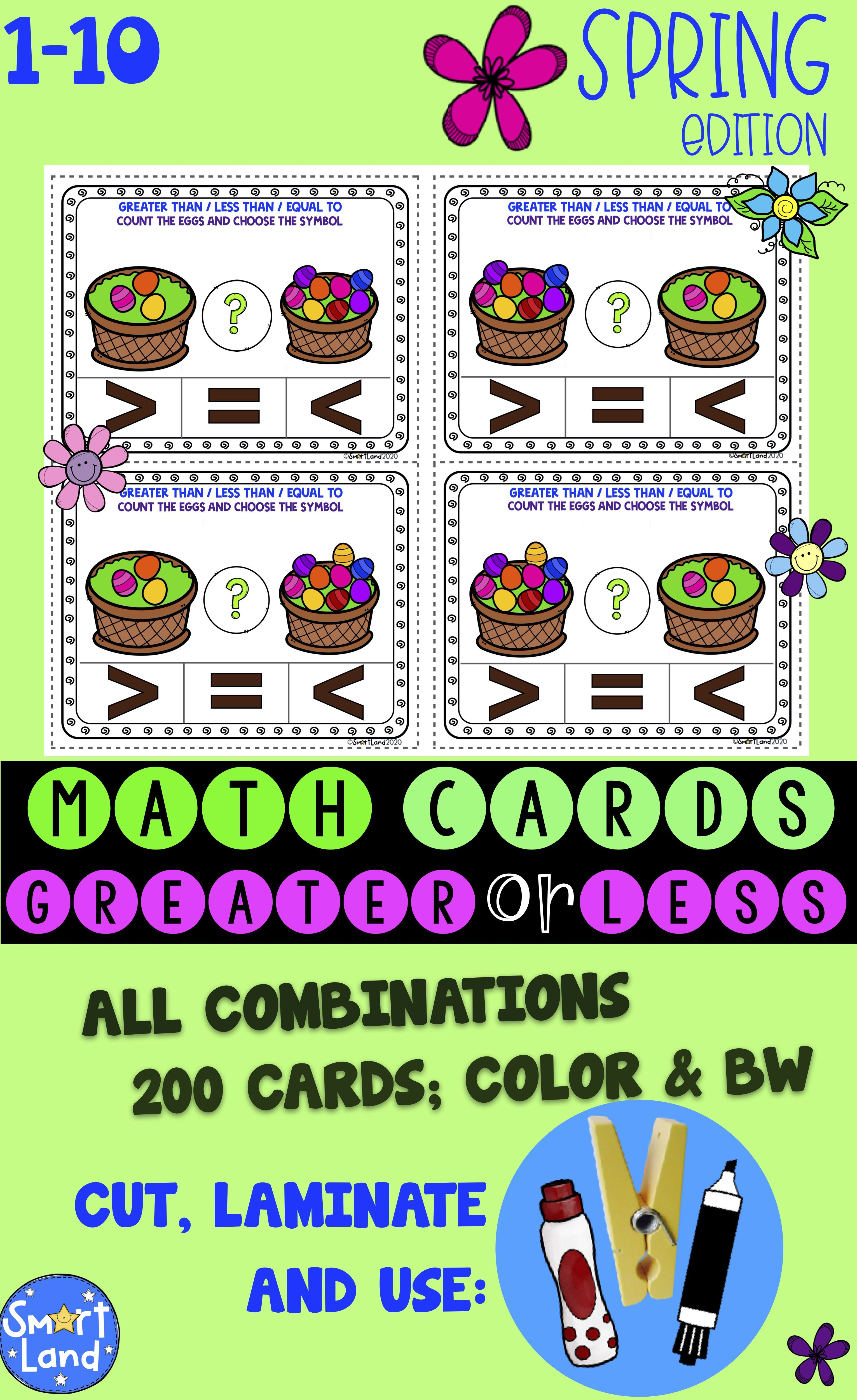 Math Number Cards Greater Or Less Spring In