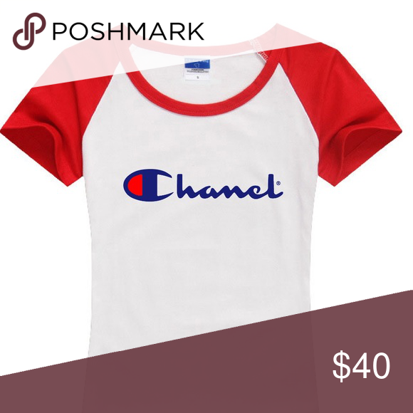 chanel x champion. new custom made chanel x champion tee t-shirt i had this logo a
