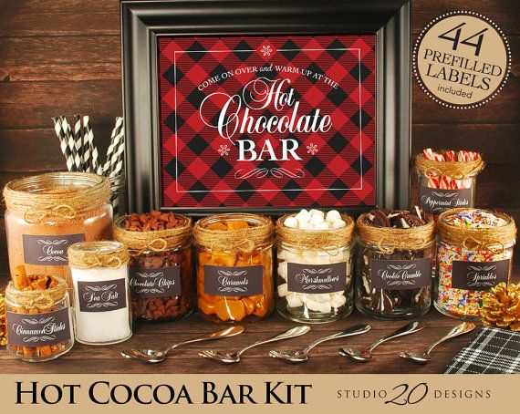 *********+********* Hot Chocolate Bars have become a staple at wintertime parties! Decorate your hot cocoa bar with this easy to use Hot Chocolate Bar Kit. Included is an 8x10 sign, 44 prefilled labels, and blank labels. Purchase, download, print and decorate. Its that easy! Sign: 8 #hotchocolatebar