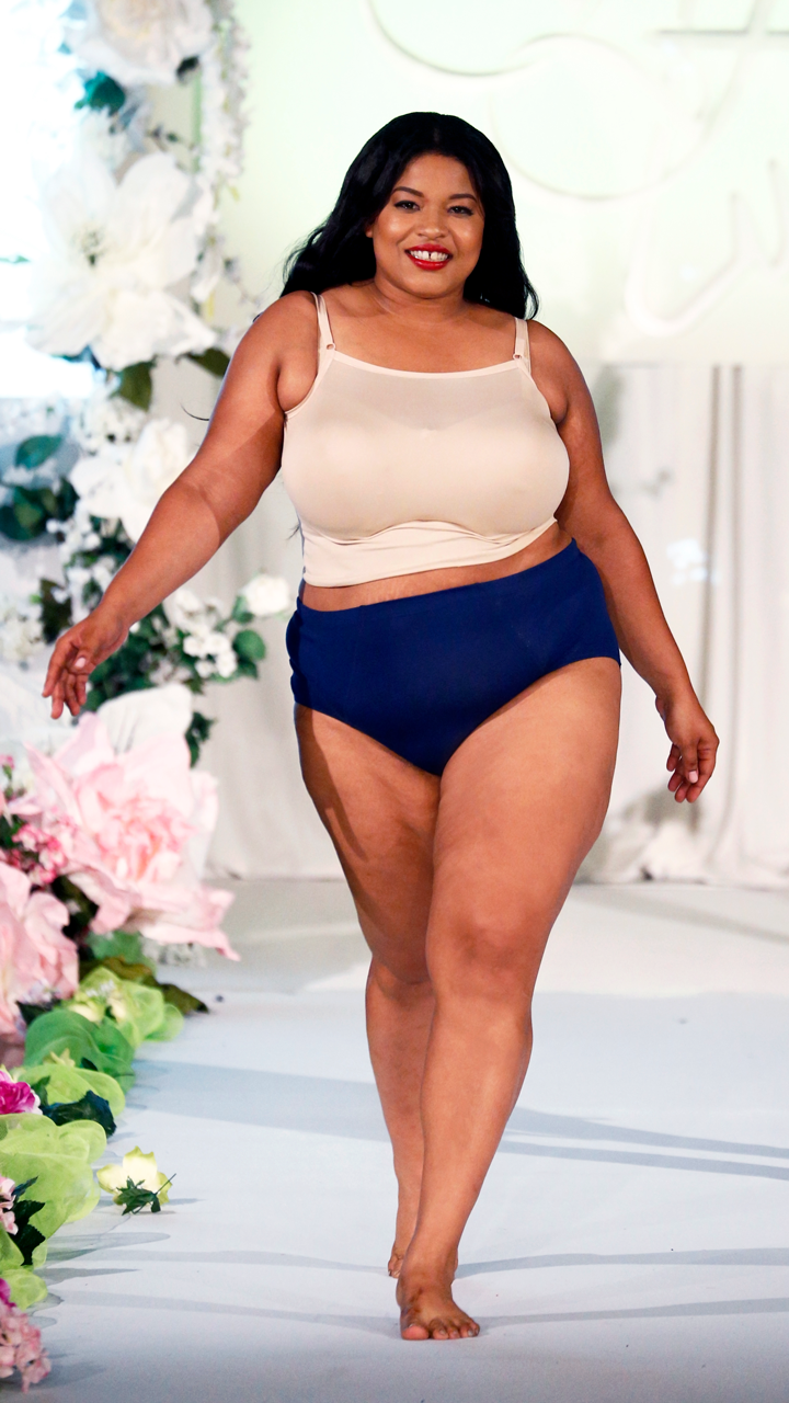 8a8741cc718f Model is wearing the Fit for Me by Fruit of the Loom Flexible Fit Briefs at  Full Figured Fashion Week 2017.