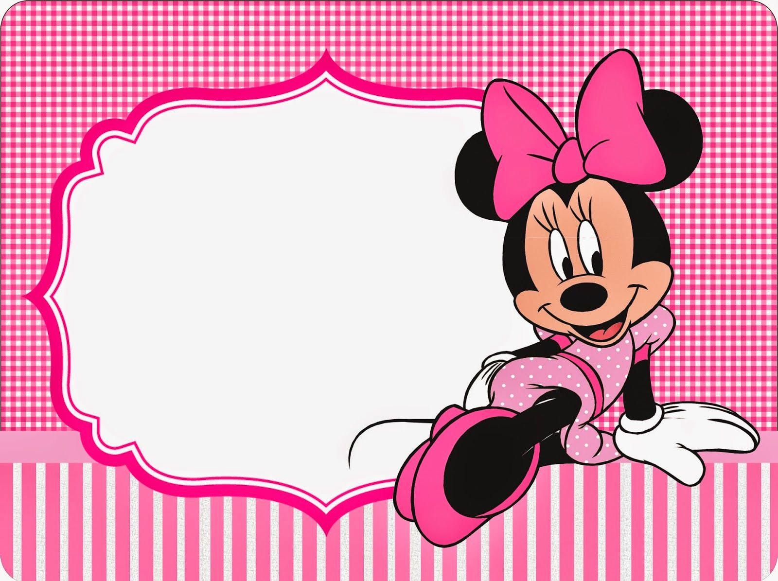 Minnie Cuadros Rosa Invitaciones y Etiquetas para Candy Bar para Imprimir Gratis