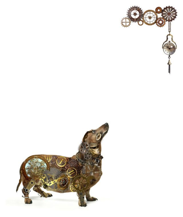 """""""the clockwork dog"""" by jennifer ❤ liked on Polyvore featuring arte"""