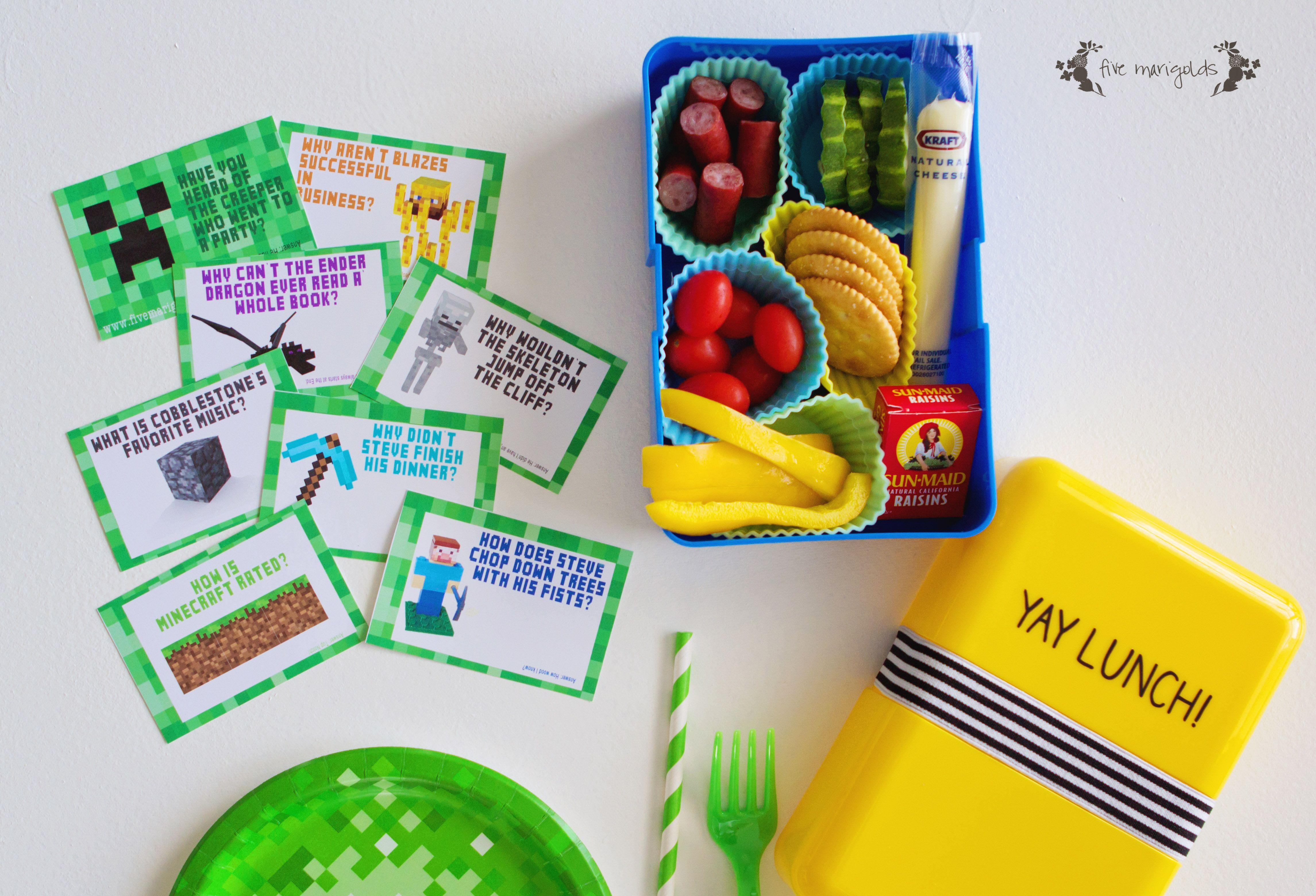 Free Back to School Printable: Minecraft Lunchbox Jokes ...