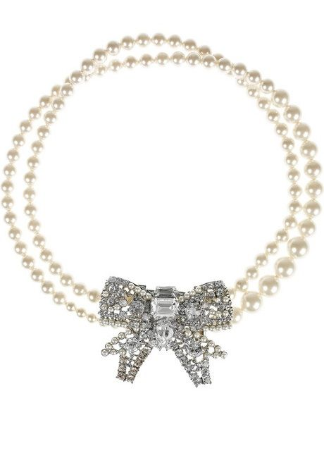 e8134f2f5535 Miu Miu Glass Pearl and Plexiglass Crystal Bow Necklace