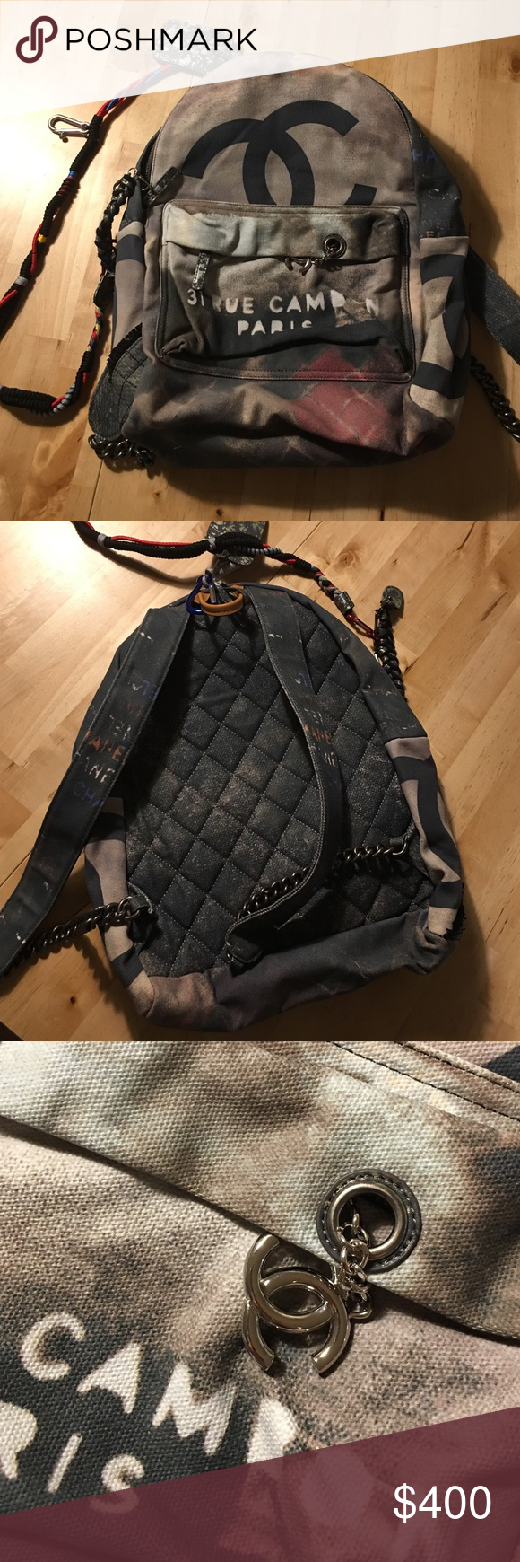 dea26bad9f21 CHANEL GRAFFITI BACKPACK Bought the fake large bag, is in perfect  condition, NEVER WORN!! Color is black canvas and includes dust bag CHANEL  Bags Backpacks