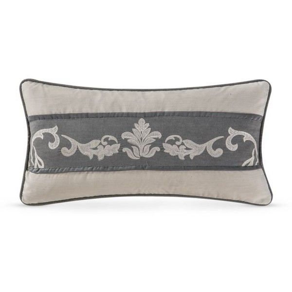 Waterford  Maura Breakfast Pillow 11-In. X 22-In. ($56) ❤ liked on Polyvore featuring home, bed & bath, bedding, natural, king bed linens, king linen bedding, king bedding, western king size bedding and geometric bedding
