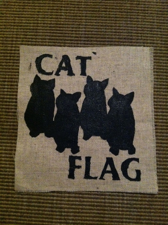 161723845 Cat Flag Black Flag Patch.  3.00