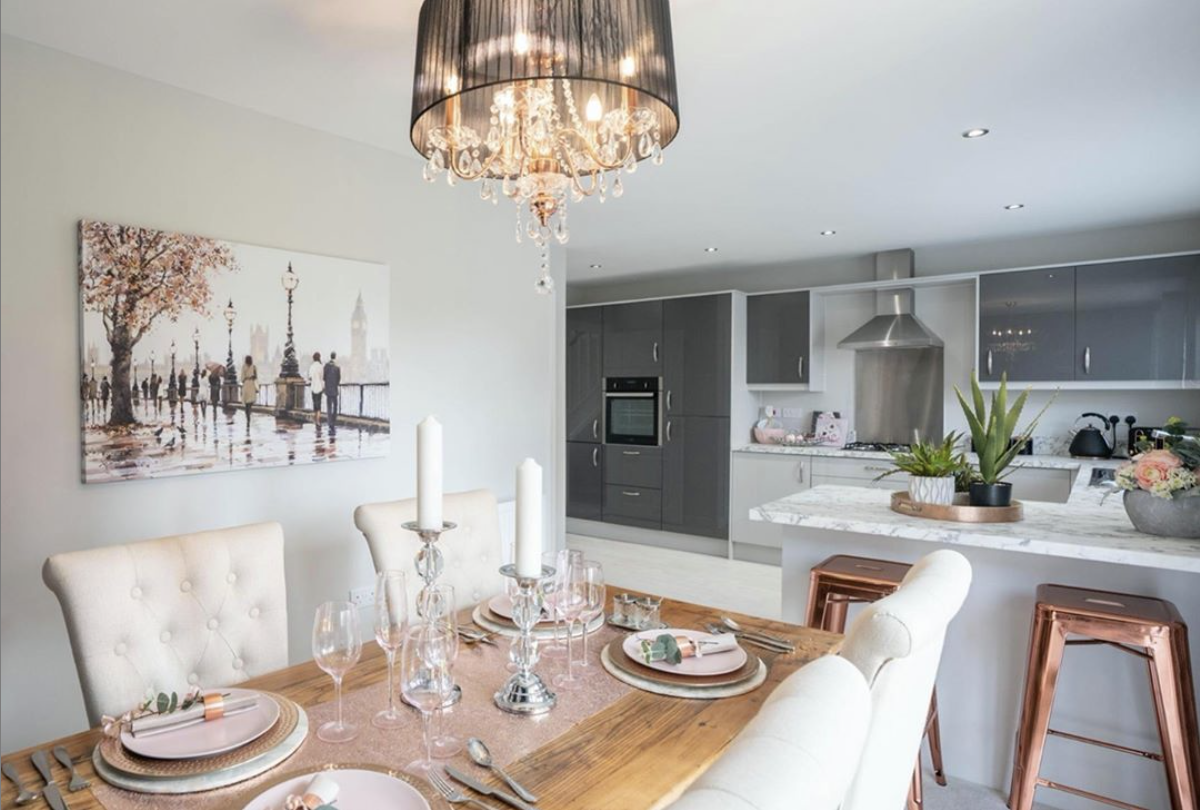 Modern and luxurious kitchen/ diner featuring copper accents to compliment the space in this new build | #LlanmoorHomes #newhome #newhouse #newbuildhouse #newbuild #homeideas #copperkitchen #copperkitcheninspo