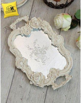 Vassoio Ovale con Manici e Specchio Shabby Chic Colore Avorio ...
