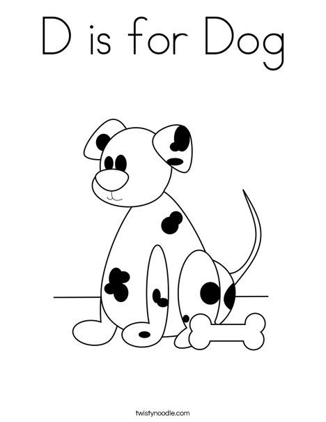 D is for Dog Coloring Page - Twisty Noodle | Dog coloring ...