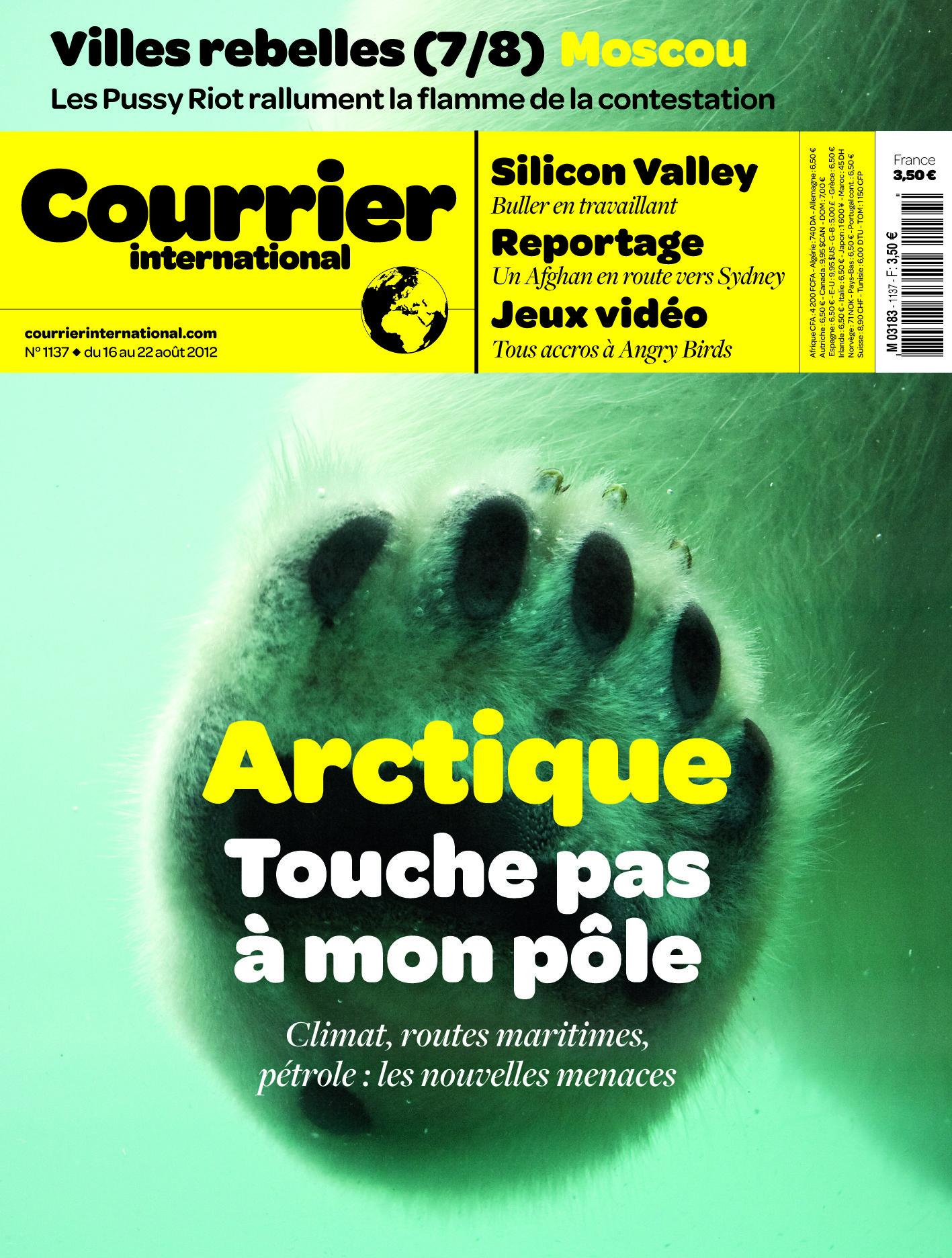 Le Titre De Une Hebdo N 1137 Arctique Touche Pas A Mon Pole Arctique Courrier International Toucher