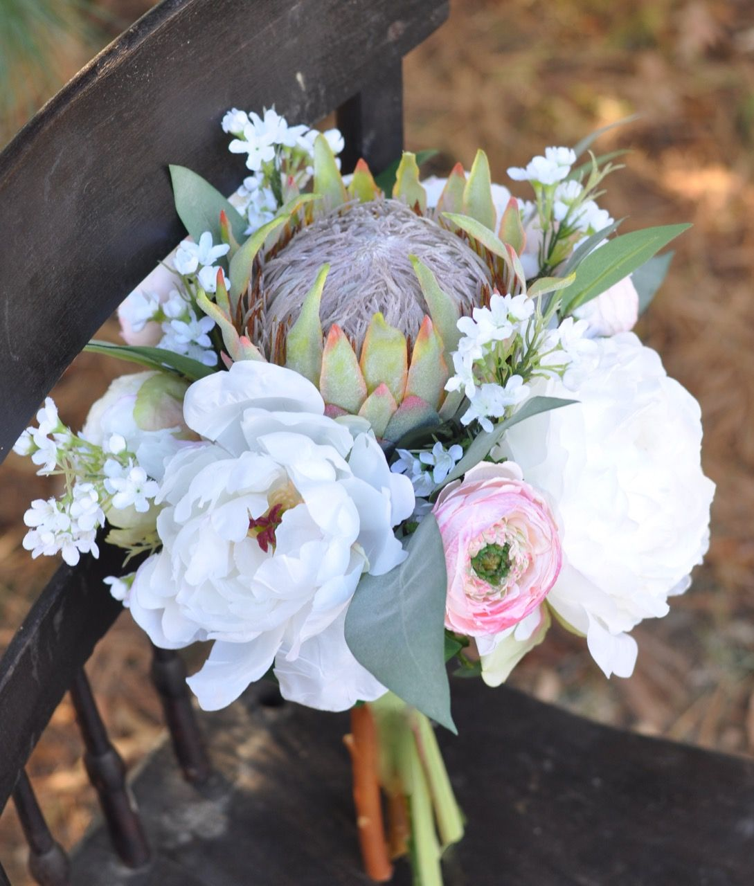 King Protea Ranunculus And Peony Artificial Flower Bouquet By Holly S Wedding Flowers Flower Bouquet Wedding Wedding Flowers Artificial Flower Bouquet