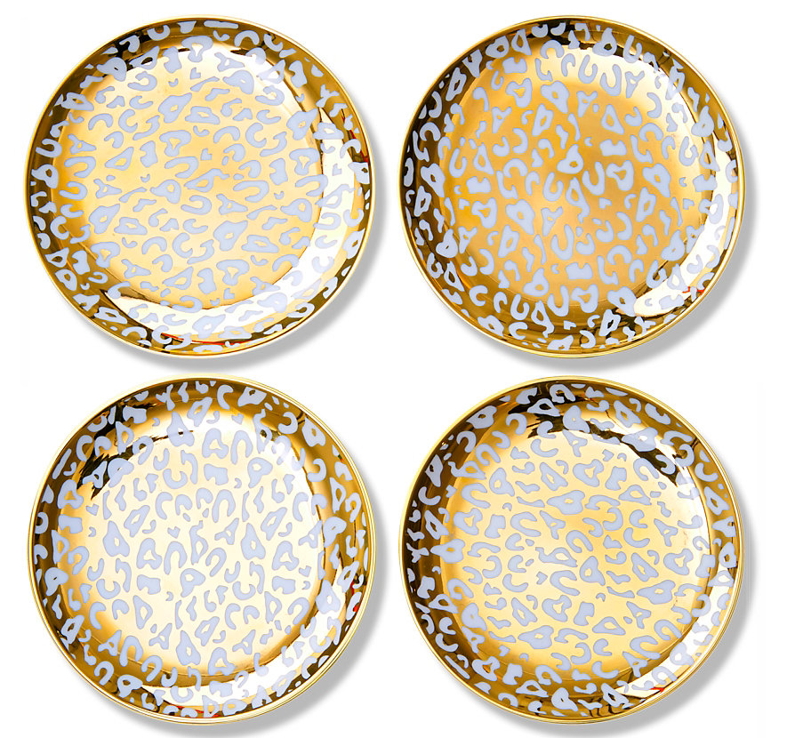 Gold Leopard Print Appetizer Plates Tabletop Dishes