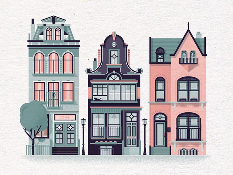 Row Houses #2 | House, Illustrations and House illustration