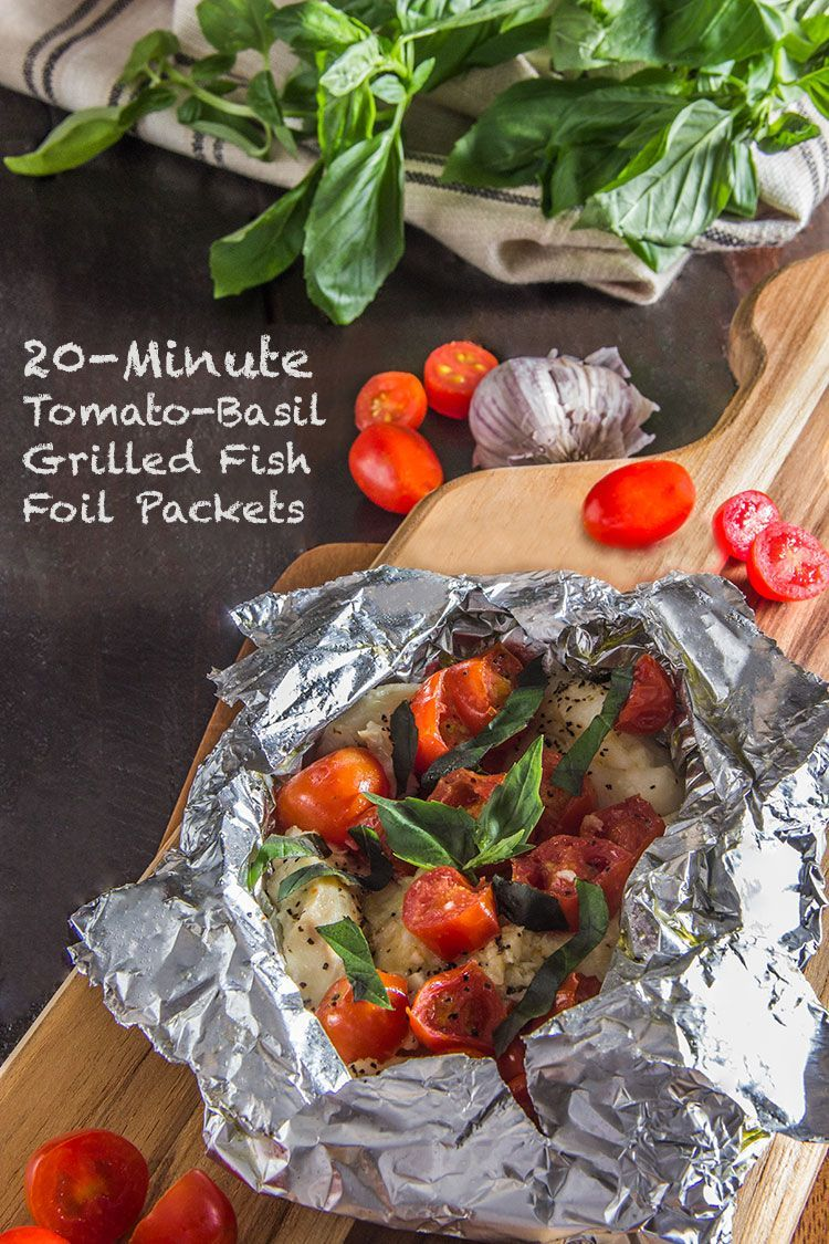 Tomato-Basil Grilled Fish Foil Packets 20-Minute Tomato-Basil Fish   Quick and simple foil packet recipe for the grill!   The Scrumptious Pumpkin20-Minute Tomato-Basil Fish   Quick and simple foil packet recipe for the grill!   The Scrumptious Pumpkin