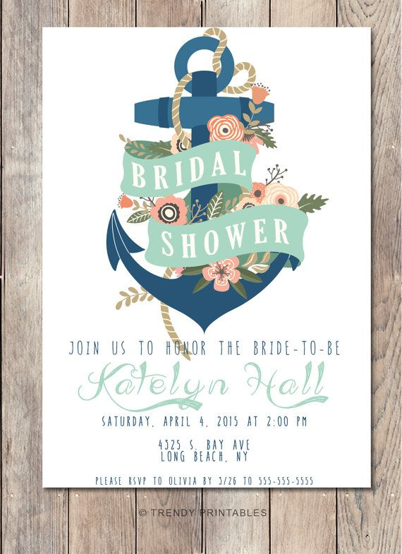 Bridal Shower Invitation Nautical Bridal Shower Nautical Bridal