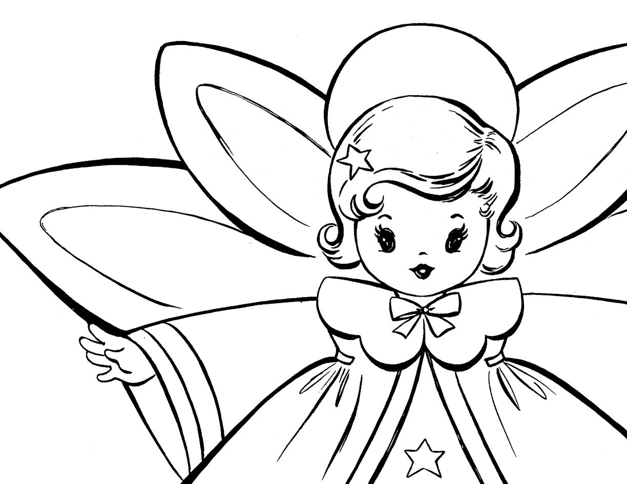 Free Christmas Coloring Pages - Retro Angels | Pinterest | Angel ...