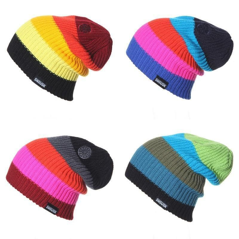 Men Women Striped Knitted Mixed Color Warm Ski Beanie Hat Soft Wool Hip-hop Cap