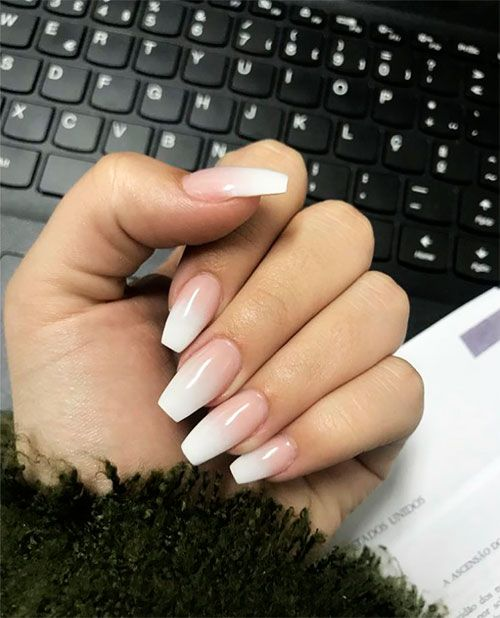 How To Do French Ombre Nails With Gel Polish Coffin Nails Ombre Ombre Acrylic Nails Ombre Nails