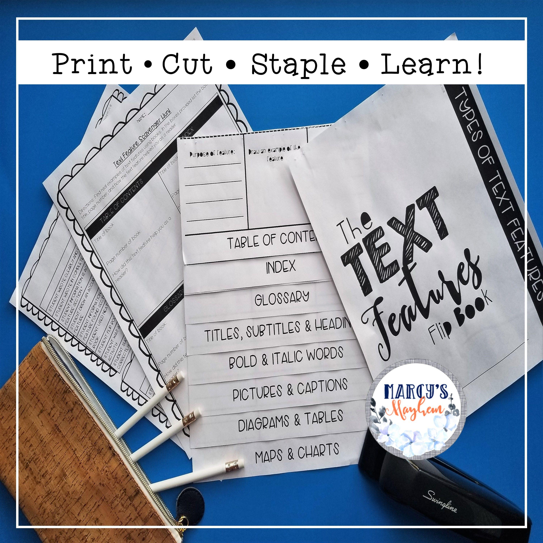 Text Features Activity Flip Book
