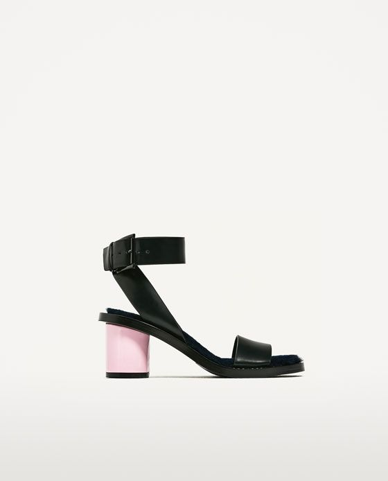 ea59f1946df849 ZARA - TRF - SANDALES À TALONS EN FAUSSE FOURRURE | Shoes | Pinterest