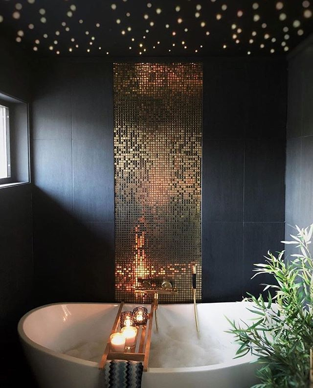 Black gold and mosaiced up! Were in love! | via @chamillaogline #handmade #tile #mosaic #art #bathroomtileshowers
