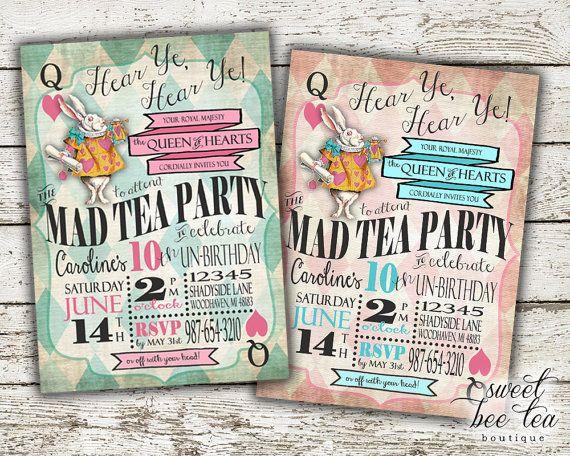 Boys Girls Alice In Wonderland Birthday Invitation Any
