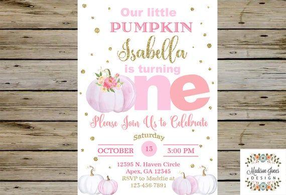 Pink Pumpkin BIRTHDAY INVITATION, Pink Pumpkins Bday Party Invitation, Customized Digital Printable, Our sweet little Pumpkin Birthday Theme