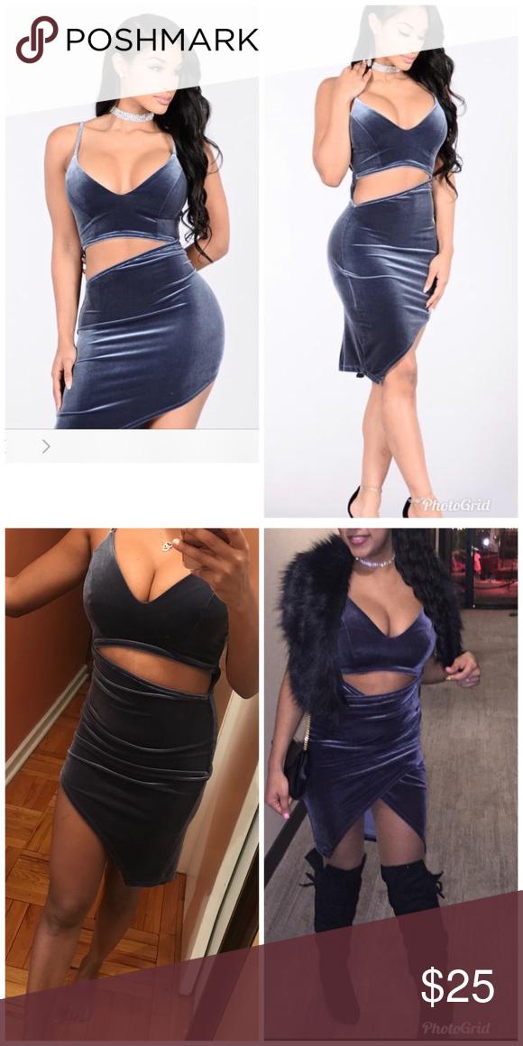 Fashion nova velvet cutout dress small