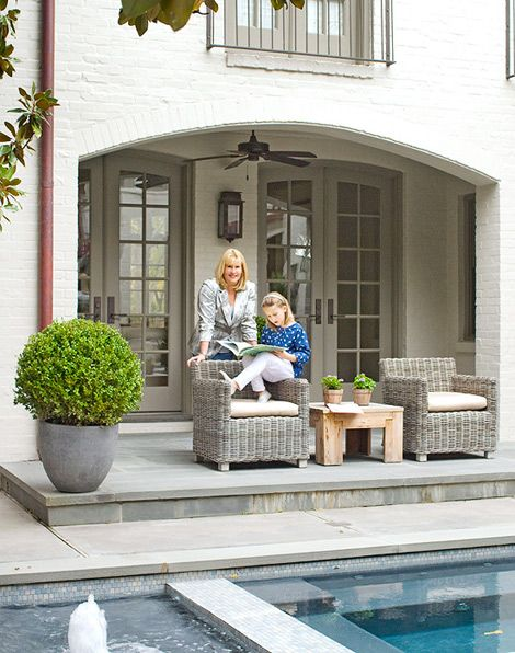 white painted brick with gray/taupe trim Exteriors Pinterest