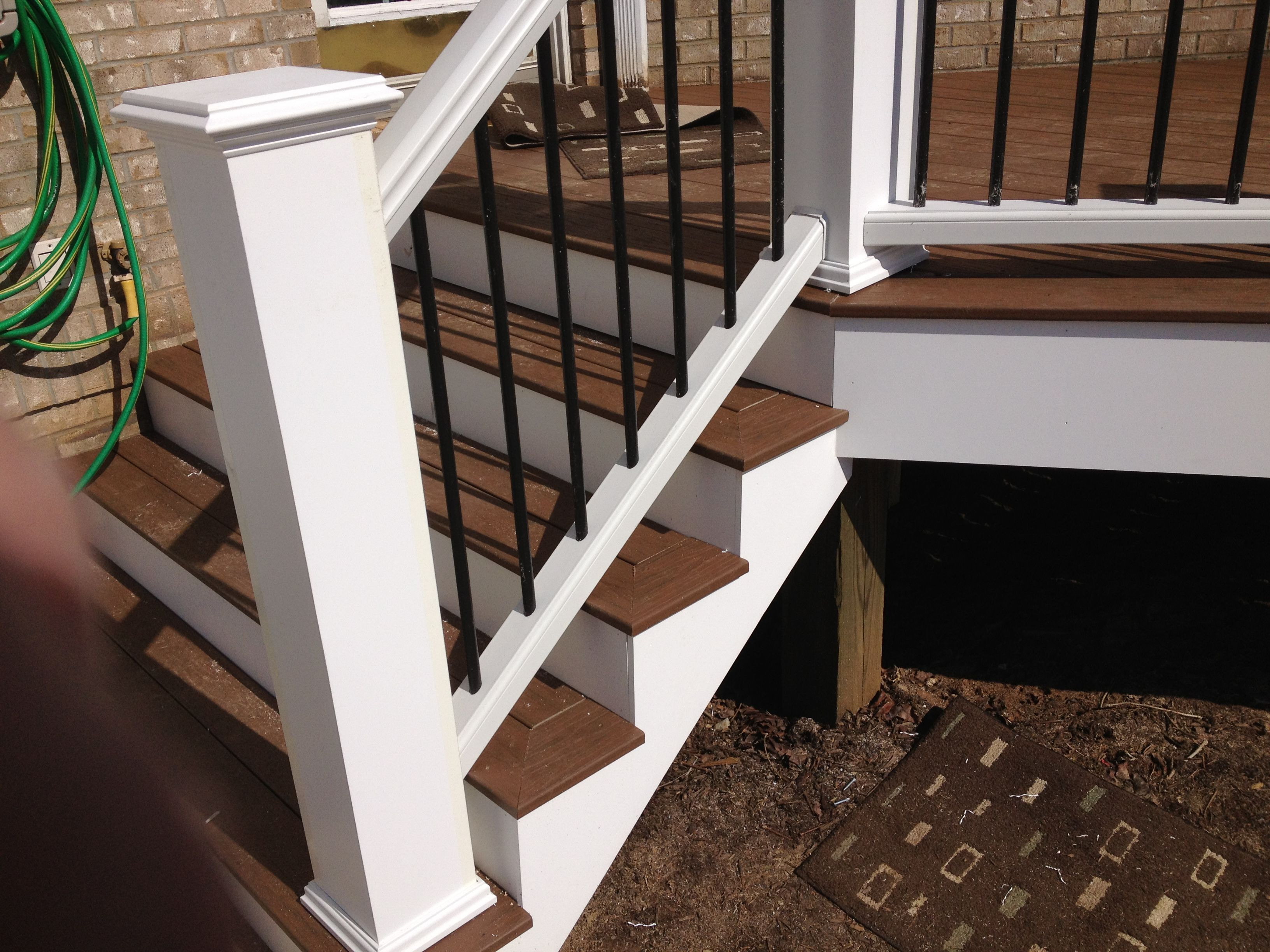 Build Newel Post Picture Framed Stairs With Trex Railings And Oversized Newel Posts