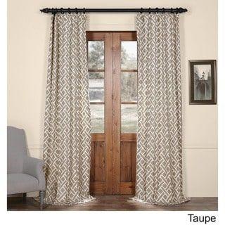 Exclusive Fabrics Martinique Printed Cotton Curtain Panel Taupe