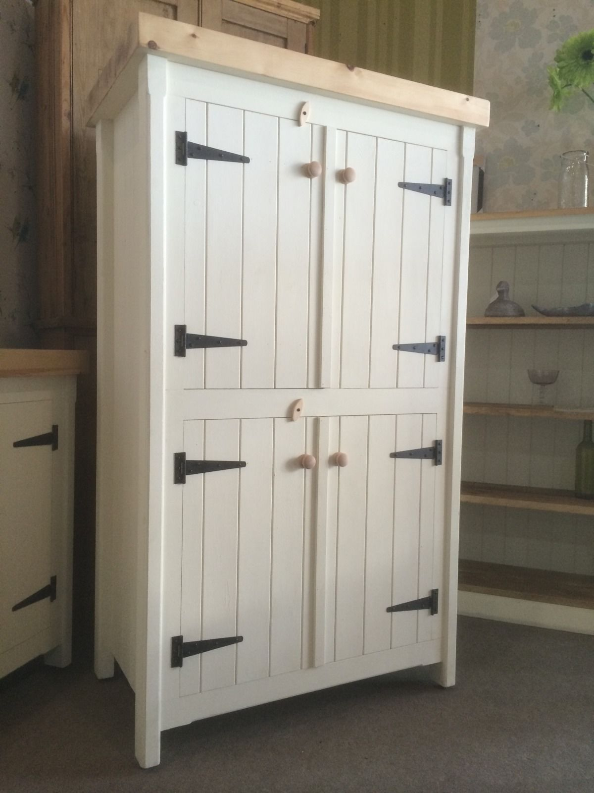 Rustic Wooden Pine Freestanding Kitchen Handmade Cupboard Unit Pantry Larder Kitchen Pantry Cabinet Freestanding Pantry Storage Cabinet Cupboard Design