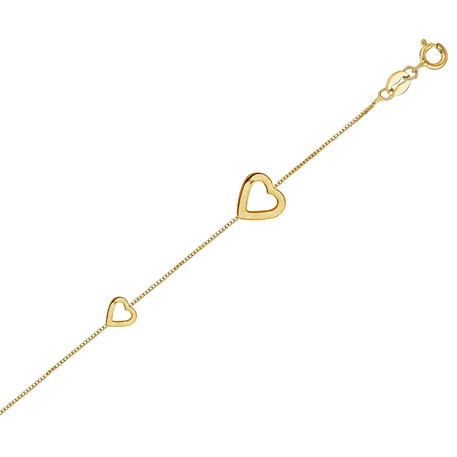 9-10 Inch Black Bow Jewelry 14k Yellow or White Gold Open Heart Double Strand Anklet