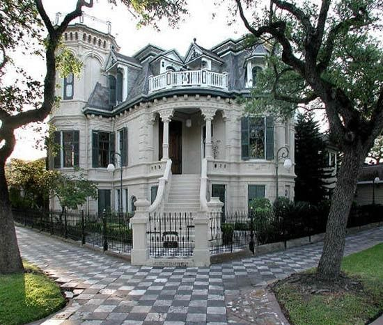 Galveston TX Gothic - Victorian house. The 21-room mansion features 32  stained-glass windows, four fireplaces and a widow's walk; inside, ...