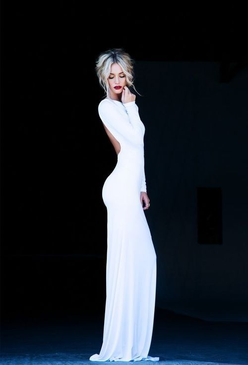 Beautiful Long Sleeve Floor Length White Gown Fashion Girls Special Occasion Dresses Beautiful Dresses