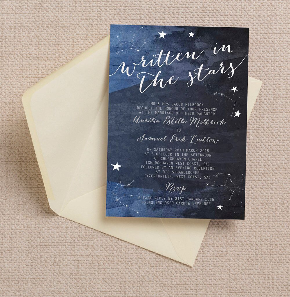 Personalised Constellation Stars Midnight Blue Wedding