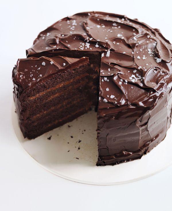 SaltedCaramel SixLayer Chocolate Cake Recipe Salted caramel