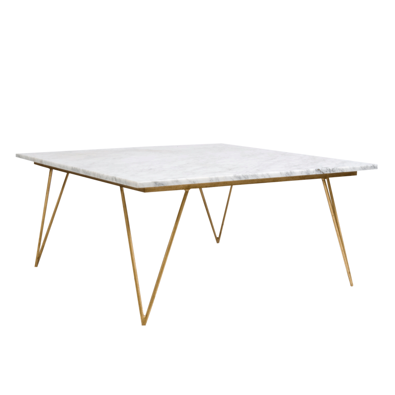 Hairpin Leg Gold Leaf Coffee Table W White Marble From Worlds Away