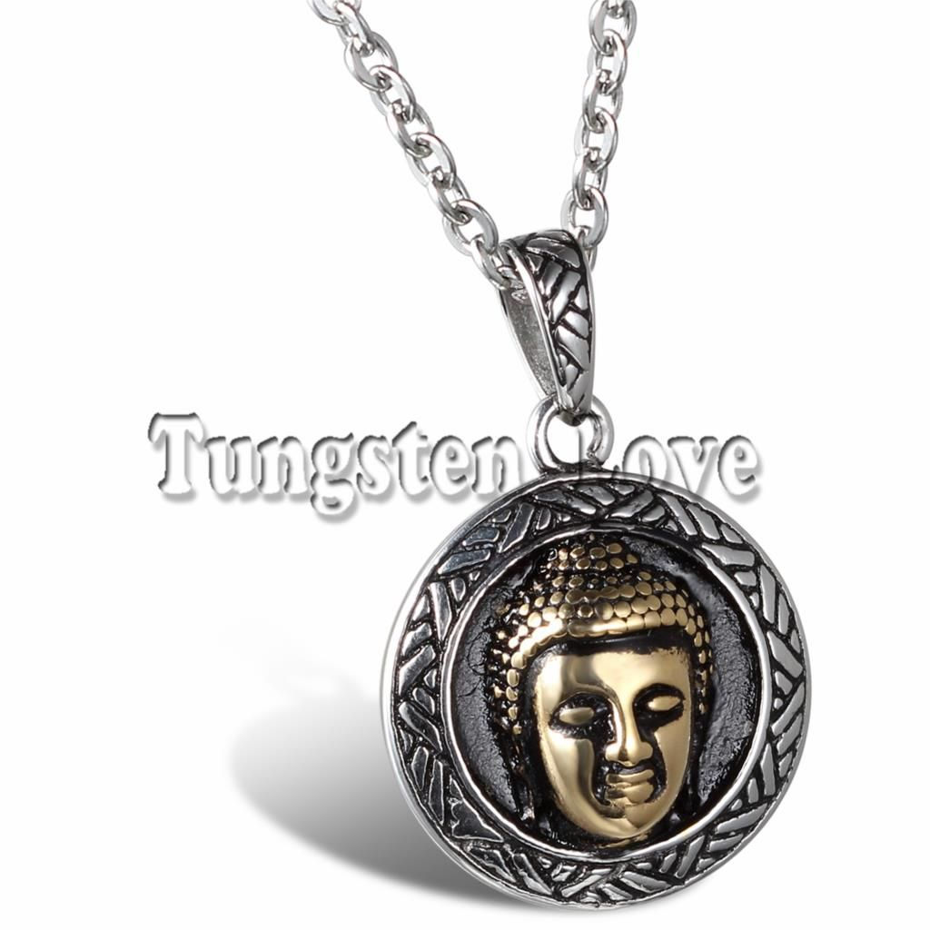 JewelryWe Gift for Dad Mens Stainless Steel Necklace Buddha Pendant for Good Luck, 22 Inches Chain