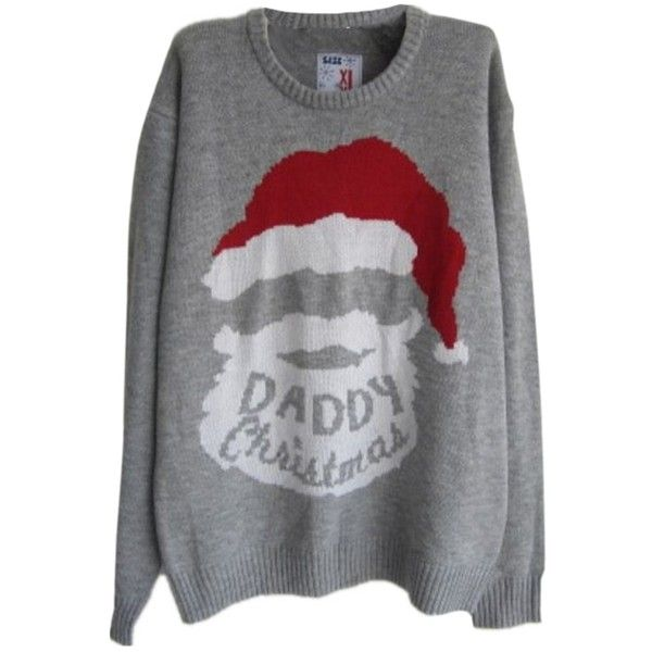 Womens Ugly Christmas Santa Claus Pattern Sweater ($20) ❤ liked on