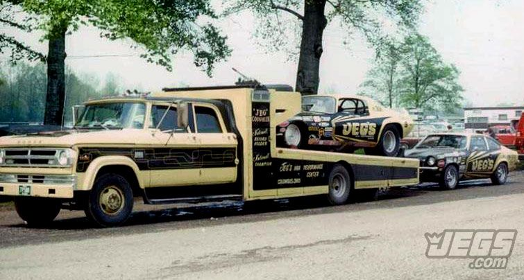From the JEGS archives! This photo was taken around 1972 of the JEGS car hauler and Jeg Coughlin Sr.'s drag cars. The hauler is currently being restored! What do you think?