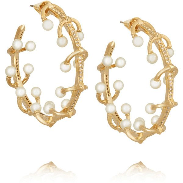 Eddie Borgo Pierced gold-plated, crystal and pearl earrings ($340) ❤ liked on Polyvore featuring jewelry, earrings, gold, pearl jewellery, pave hoop earrings, polish jewelry, pave earrings and pearl jewelry
