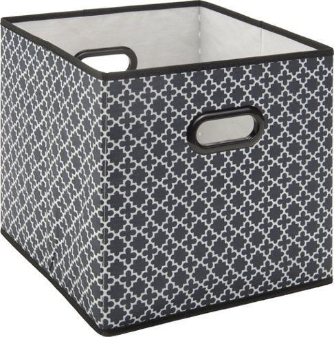 Aufbewahrungsbox aus Kunststoff, Textil und Karton in der Farbe Schwarz/Weiß mit Ornament. L/B/H: ca. 33/33/32cm.